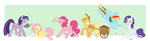 applejack book bunny cupcake fluttershy glasses highres main_six pinkie_pie rainbow_dash rarity rollingrabbit twilight_sparkle