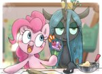 cake cooking highres nendo23 pinkie_pie queen_chrysalis