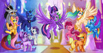 applejack blazemizu discord fluttershy highres main_six pinkie_pie princess_celestia princess_luna princess_twilight rainbow_dash rarity spike starlight_glimmer twilight_sparkle