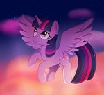 absurdres cloud emera33 flying highres nighttime princess_twilight stars twilight_sparkle