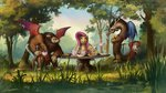 angel discord fluttershy forest highres huussii scorpan table tea tea_party teapot