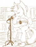 applejack cigarette citlalicue grayscale guitar i_shall_not_use_my_hooves_as_hands instrument lineart