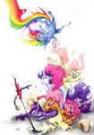 :gonk: applejack fleebites fluttershy highres inkwell pinkie_pie ponypile quill rainbow_dash rarity twilight_sparkle