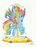 carousel flowers highres rainbow_dash rainbow_power traditional_art urahana