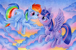 cloud flying macgreen princess_twilight rainbow_dash shipping traditional_art twidash twilight_sparkle
