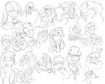 applejack hat lily_valley monocle original_character pinkie_pie pipe princess_celestia rarity rose sketch twilight_sparkle tyruas