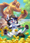bat_pony chick chicken grass highres holivi original_character