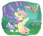 absurdres angel bird butterfly flowers fluttershy highres sugar_switch
