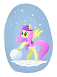 coat eq-7 fluttershy hat highres scarf snow snowball snowing transparent winter