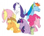 applejack artist_unknown fluttershy horselike main_six pinkie_pie rainbow_dash rarity spike twilight_sparkle