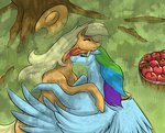 appledash applejack apples hat hugs rainbow_dash shipping shybaldur tree