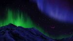 cyonixcymatro flying highres mountain nighttime northern_lights princess_twilight scenery stars twilight_sparkle