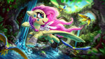 absurdres angel bird fluttershy flying forest highres parrot rysunkowasucharia stream trees water