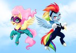 dannyckoo fluttershy flying highres power_ponies rainbow_dash saddle_rager zapp
