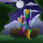 fireflies moon rainbow_dash scootaffection scootaloo shooting_star steffy-beff