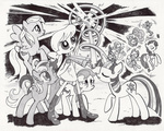 applejack discord elements_of_harmony fizzy fluttershy g1 generation_leap grayscale highres lumdrop megan pinkie_pie rainbow_dash rainbow_of_light rarity shady tirek twilight_sparkle twinkle-eyed wind_whistler