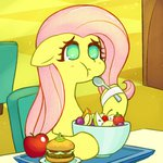 apples bowl eating fluttershy fruit hamburger highres mesperal spoon