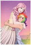 flutterdash fluttershy hazurasinner highres humanized rainbow_dash shipping