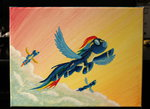 cloud flying horseez rainbow_dash traditional_art wonderbolts