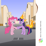 album_cover on_fire parody pink_floyd pinkie_pie purpletinker twilight_sparkle wish_you_were_here