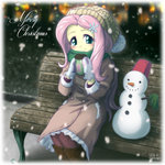 bench christmas equestria_girls fluttershy humanized snowing snowman uotapo winter