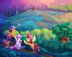 apple_bloom apples cutie_mark_crusaders highres orchard scenery scootaloo sweet_apple_acres sweetie_belle trees viwrastupr