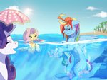 beach crab fluttershy naminzo ocean rainbow_dash rarity swimming umbrella