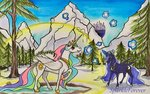 magic mountain princess_celestia princess_luna snow snowball sparkleforever traditional_art trees
