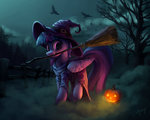 broom broomstick dress hat highres lolliponybrony nighttime princess_twilight pumpkin tree twilight_sparkle witch