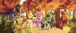 background_ponies kirin luster_dawn nancy-05 running_of_the_leaves trees