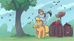 absurdres applejack apples highres icychamber rainbow_dash tree