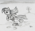 boots grayscale kuroitsubasatenshi monochrome saddle scarf tree twilight_sparkle winter