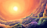 cloud flying highres plainoasis rainbow_dash sunset