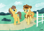 background_ponies braeburn caramel willdrawforfood1