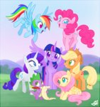 applejack fluttershy highres main_six mn27 pinkie_pie princess_twilight rainbow_dash rarity spike twilight_sparkle