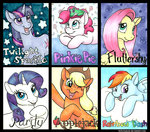 applejack fluttershy gummy helicityponi main_six pinkie_pie rainbow_dash rarity traditional_art twilight_sparkle