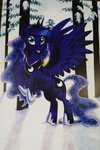 helicityponi highres princess_luna snow traditional_art trees