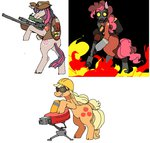 applejack applesemen bipedal engineer flamethrower highres pinkie_pie pyro sentrygun sniper team_fortress_2 twilight_sparkle