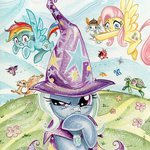 angel bird butterfly flowers fluttershy rainbow_dash sararichard the_great_and_powerful_trixie tortoise traditional_art