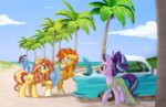 beach car dress glasses hat kellythedrawinguni starlight_glimmer sunburst sunglasses sunset_shimmer the_great_and_powerful_trixie tree