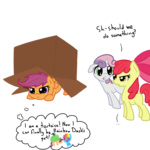 apple_bloom box cardboard_box cutie_mark_crusaders otterlore scootaloo sweetie_belle tortoise transparent
