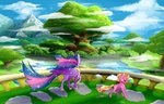 highres luster_dawn mountain notaletolivefor princess_twilight scenery trees twilight_sparkle
