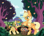 applejack apples highres original_character rainbow_dash silent-shadow-wolf spitfire trees wonderbolts zap_apples