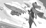airshipping dirigible grayscale humanized johnjoseco princess_luna sword weapon