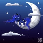 auro-ria cloud moon nighttime pixel_art princess_luna sleeping stars