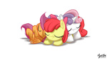 apple_bloom cutie_mark_crusaders highres mysticalpha ponypile scootaloo sleeping sweetie_belle