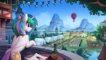 balcony balloon bird bottle flag highres mountain princess_celestia quill scenery tent tree yakovlev-vad