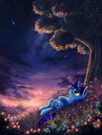 absurdres atlas-66 cloud flowers highres nighttime original_character shooting_star stars trees
