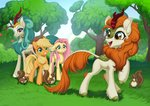 applejack autumn_blaze fluttershy highres kirin kyotoleopard rain_shine squirrel tree