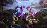 absurdres apples bird flowers glasses highres lemon_hearts minuette moondancer princess_twilight scenery tree twilight_sparkle twinkleshine zilvart